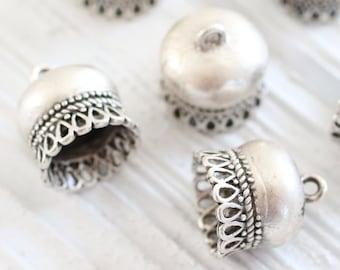 2pc silver large tassel caps, bead cones, large bead caps, large end caps, rustic bead caps, tassel cap, tribal tassel cap, silver caps