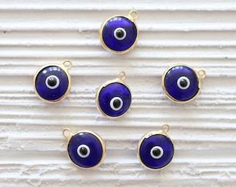 5pc navy blue evil eye pendant, good luck charm, evil eye charm, bracelet necklace earring charms, navy evil eye, gold bezel evil eye