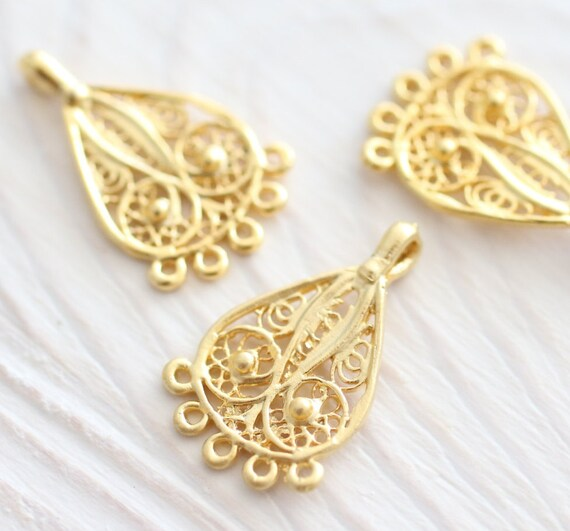 10pc chandelier earrings dangle, filigree chandelier, gold filigree charms, multi strand,earring charms,chandelier charms,earring components