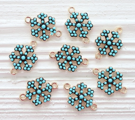 2pc snow flakes dangles, turquoise beads, earring beads, snow flake, bead charm, bracelet connector, snow flakes charm pendant, blue charms