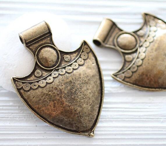 Anchor pendant, antique gold tribal pendant, rustic pendant, large hole pendant, hammered pendant, large metal pendant, large anchor