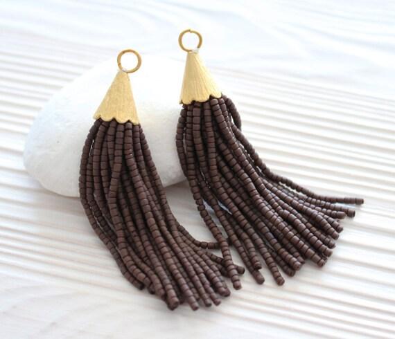 Brown beaded tassel, short bead tassel, gold cap tassel, tassel earrings, tassel, necklace tassel,decorative tassels, coffee tassel,boho,N14