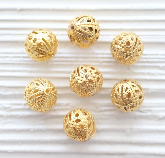 10pc round filigree gold metal beads, filigree gold beads, textured beads, necklace beads, matte gold beads, round gold beads, ball beads, L