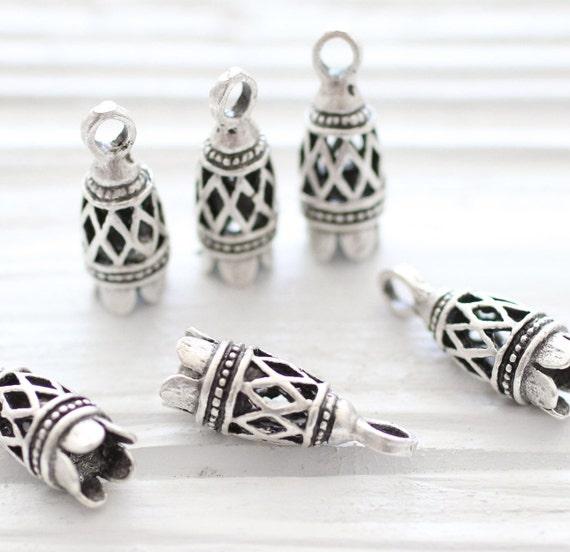 2pc filigree bead caps, silver filigree tassel cap, bead cones, end caps, unique cones, large tassel cap, ornate tassel cap, silver end caps