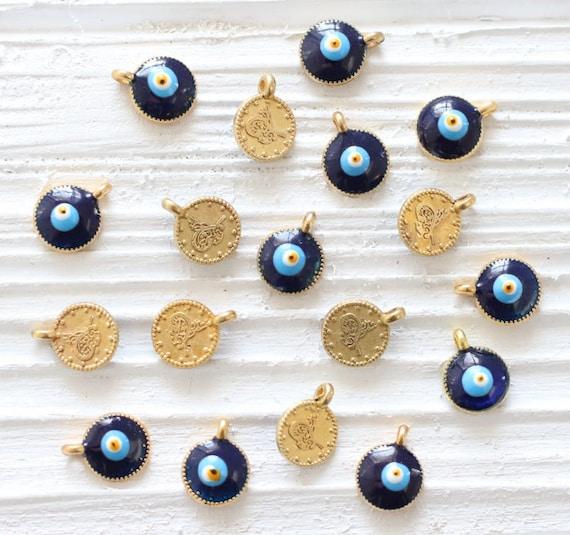 5pc evil eye charms, gold earring charms, evil eye mini pendant, enamel, blue evil eye, gold evil eye, good luck beads, evil eye beads