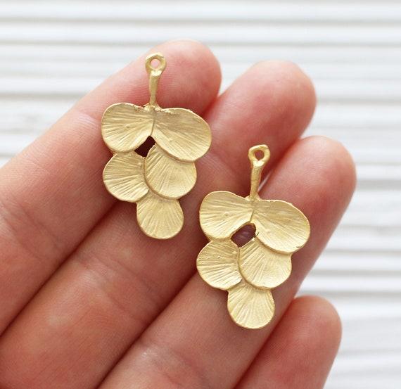 2pc branch pendant, leaf earrings charm gold, earrings pendant, tree leaf pendant gold, leaf charms, branch charm