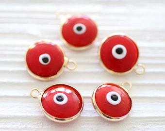 Red evil eye pendant,  good luck jewelry, evil eye charms, bracelet charms, red evileye, gold bezel evil eye pendant, large evil eye