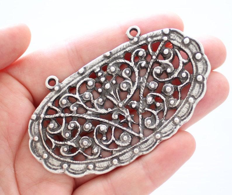 Antique silver large filigree pendant filigree medallion image 0