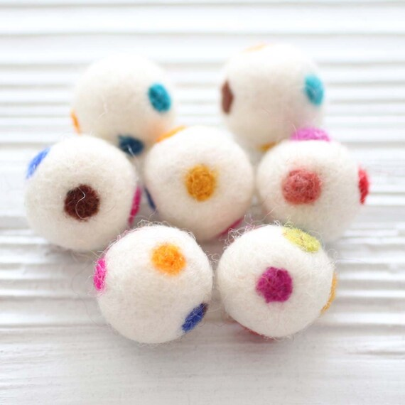 5pc felt balls, felt pom poms, ivory polkadot felt poms, 27mm, garland pom pom, felt pom pom, pom poms for garland,DIY ball garland pom poms
