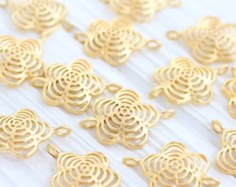 4pc gold flower connector, filigree earring charms, dangles, filigree flower, gold charms, matte, flower jewelry, daisy, necklace connector