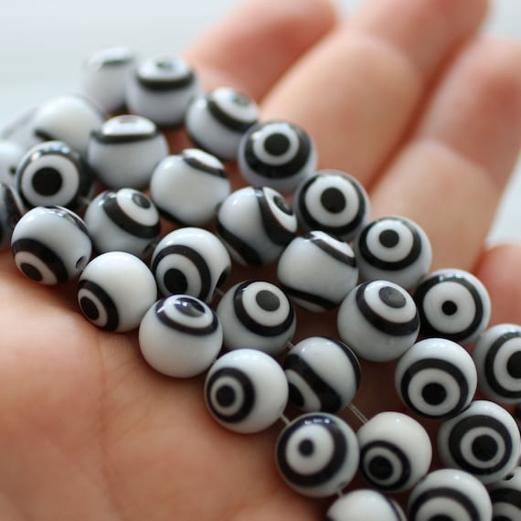 12pc-10mm black and white round evil eye beads, round glass beads, lamp work, evil eye beads, DIY beads, evil eye, good luck beads