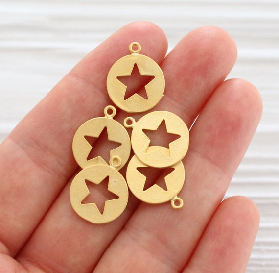 5pc cut out star pendant gold, star charms, coin charms, gold disc charms, gold dangle, round charms, bracelet earring charms, star, metal