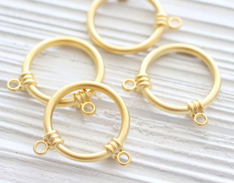 2pc matte gold ring pendant connector circle charm pendant image 0