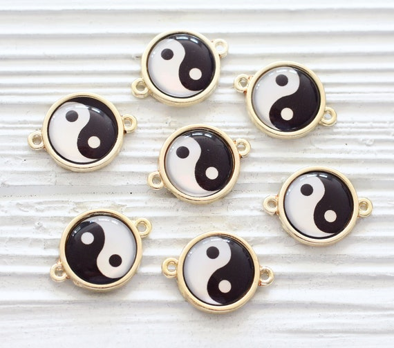 2pc Ying Yang pendant connector, ying yang charm, earrings dangle, symbol pendant, charm pendant, glass round connector, bracelet connector