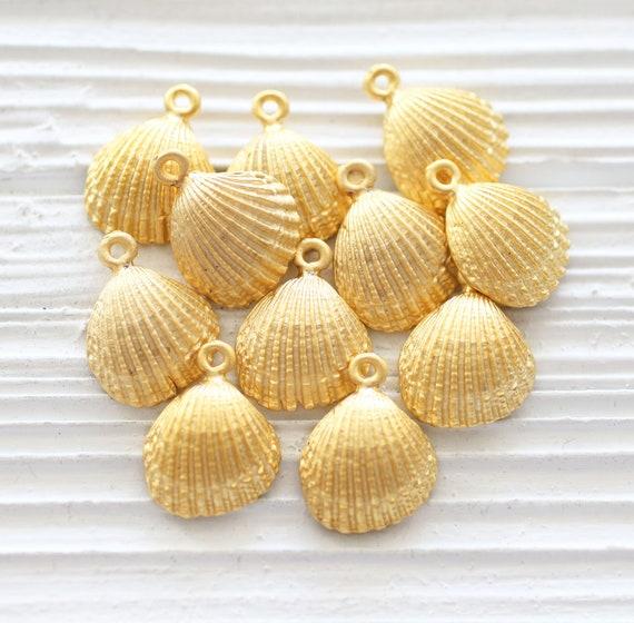 10pc seashell charms gold, seashell earring dangles, matte gold, seashells, sea findings, sea pendant, seashell pendant charm gold, shell, L