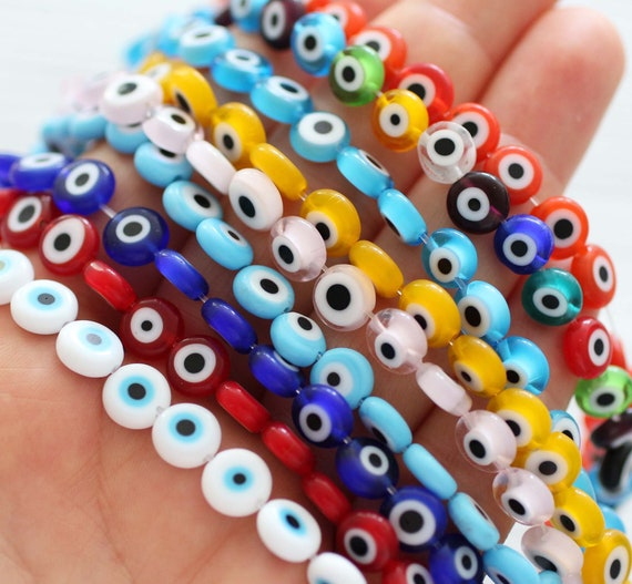 "15"", 46pc, 8mm evil eye beads bulk, round evil eye beads on strand, flat glass beads, navy, green, yellow, white, red,DIY bracelet beads,EE8"