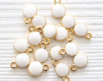 10pc white charm, necklace charm, enamel charms, round gold charms, white bead findings, earring dangle, bracelet charms, mini white pendant