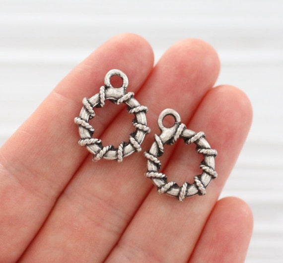 2pc round spiral pendant, round silver hoop pendant, circle pendant, loop pendant, earrings dangle, silver charms, rustic charms, unique