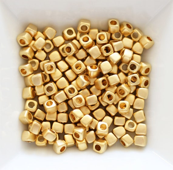 10pc square rondelle beads gold, sliding beads, matte gold heishi beads, metal spacer beads, large hole beads,square beads, bracelet beads,S