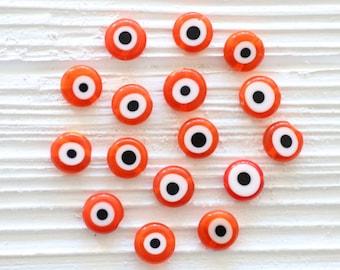 15pc-10mm evil eye beads, orange evil eye, round glass beads, lamp work beads, round evil eye flat beads, flat beads, orange beads, EE10