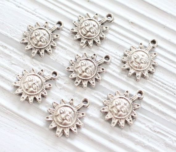 10pc sun charm silver, tribal, large silver charms, metal celestial charm, bracelet charms, earrings dangle, silver star charms, rustic