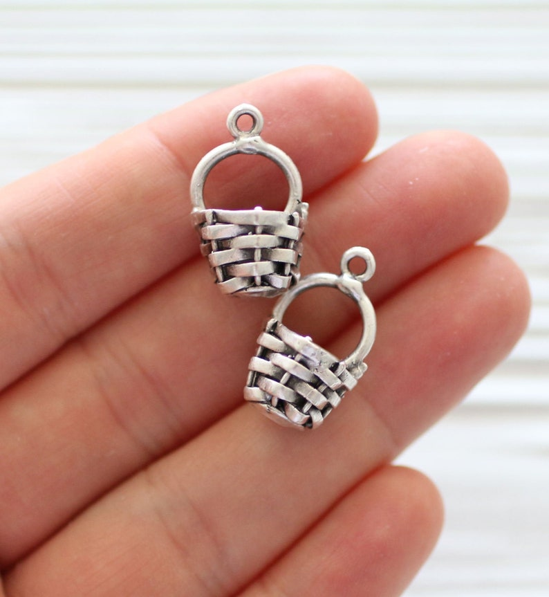 4pc craft charms large basket charms silver necklace charm image 0