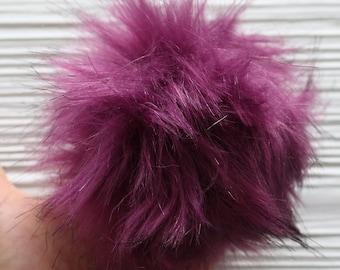 "Purple pom pom, 5"" large faux fur pom poms for hats purses bags slippers curtains, beanie pom pom, fur pom pom, large pom pom, plum, N10"