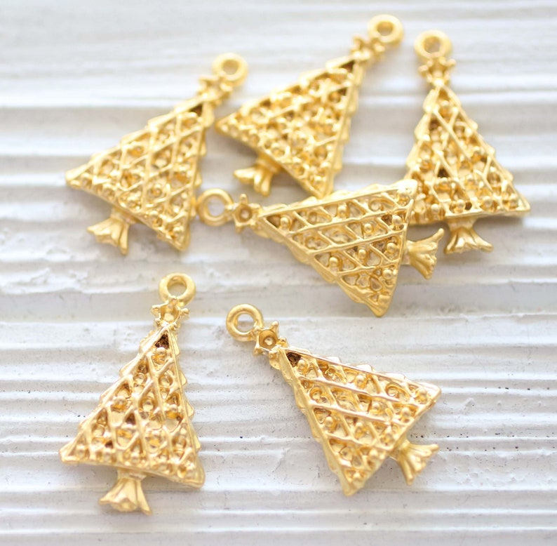 earring charms 5pc Christmas tree charm Christmas charms gold Christmas jewelry charms necklace gold charms tree charm bracelet