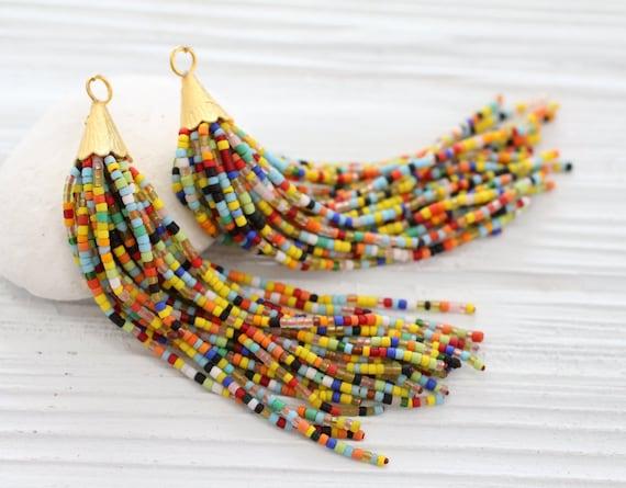 Multicolor beaded tassel, long bead tassel, gold cap tassel, multi color beads tassel, decorative tassels,beaded earring necklace tassel,N16