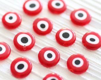 15pc-12mm red evil eye, glass beads, evil eye beads, round beads, lamp work, flat beads, DIY beads, evil eye, good luck beads,red beads,EE12