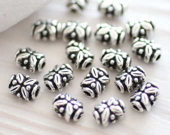 4pc antique silver spacer beads, leaf beads, bead spacers, tribal beads, silver beads, tube beads, large hole beads,TierraCast,bracelet bead