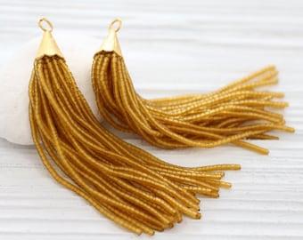 Golden yellow bead tassel, beaded tassel, gold cap tassel, large mustard tassel, decorative, beaded earrings tassel, necklace tassel, N18