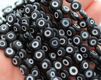 20pc-8mm black evil eye beads, lucky evil eye, DIY bracelet beads, round evil eye beads, flat evil eye glass beads, necklace beads, EE8
