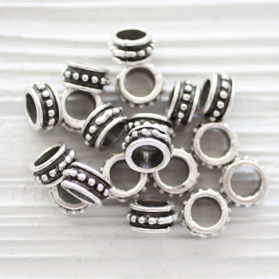 10pc rondelle beads silver, large round circle beads, rondelle spacers, slider beads, rustic beads, large hole beads, bead spacers silver