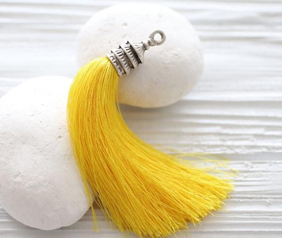 Bright yellow tassel, silver cap silk tassel, lemon,yellow tassel,long silk tassel,tassel pendant,mala tassel,necklace tassel,pagoda cap,N75