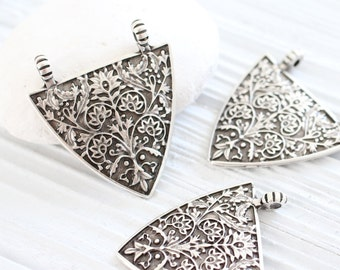 Tribal triangle pendant, silver hammered pendant, geometric pendant, rustic pendant, boho pendant, large pendants, flower pendant connector