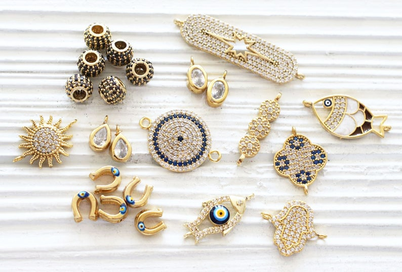 round crystal jewelry navy blue charms for earrings Round connectors gold round necklace connector pave connectors crystal charms