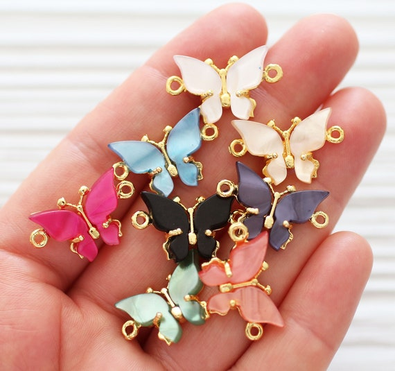 Butterfly charm connector gold, animal pendant, butterfly pendant, bracelet connector, just dangles, necklace connector, earrings charm