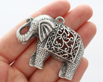 Large antigue silver filigree elephant pendant, silver elephant, filigree, animal pendant, elephant, natural findings, elephant necklace