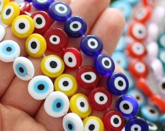 """15"""", 30pc,12mm evil eye beads bulk, round evil eye beads on strand, flat glass beads, blue, navy, white, green, red, DIY bracelet beads,EE12"""