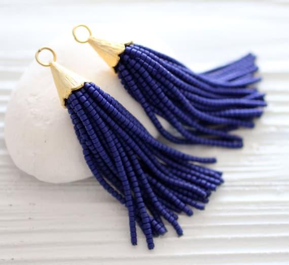 Navy beaded tassel, blue tassel pendant, tassel earrings, short blue bead tassel, necklace tassel, dark blue, tassel, gold cap tassel, N4
