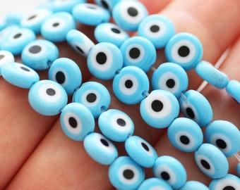 20pc-8mm turquoise blue evil eye beads, lucky evil eye, round evil eye beads, flat glass beads, lamp work beads, DIY bracelet beads, EE8