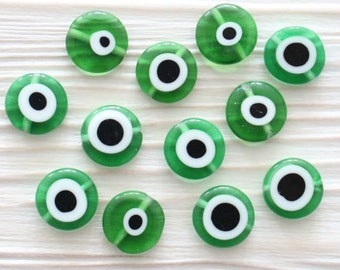 15pc-12mm green evil eye, emerald, round glass beads, lamp work beads, evil eye beads, DIY, flat glass beads, good luck beads, EE12
