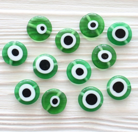 10pc-12mm green evil eye, emerald, round glass beads, glass beads, lamp work beads, evil eye beads, DIY, flat glass beads, good luck beads