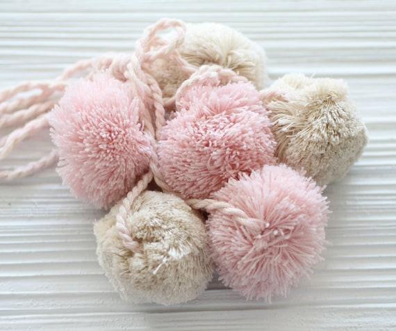 Pink beige pom pom purse charm, pom pom wall hanging decor, pom pom swag charm, pom poms curtain tie back, door knob hanger, car charm