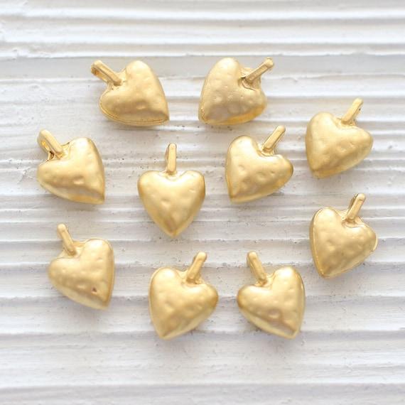 5pc heart charm, matte gold charms, heart charms for bracelet, heart pendant, heart dangle, earrings charms, heart beads, heart charm gold