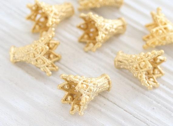 2pc gold filigree bead caps, matte gold tassel cap, bead cones, end caps, gold cones, filigree tassel cap, ornate tassel cap, gold bead cap