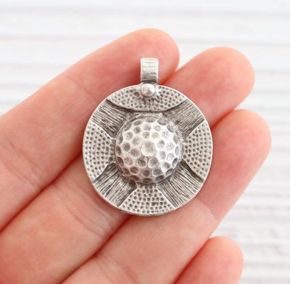 Tribal round pendant, silver round pendant, rustic pendant, boho pendant, hammered pendant, earring findings, metal pendant, circle pendant