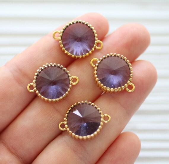 Swarovski crystal connectors, swarovski charms, light purple swarovski jewelry earrings supply, necklace connector, swarovski pendant