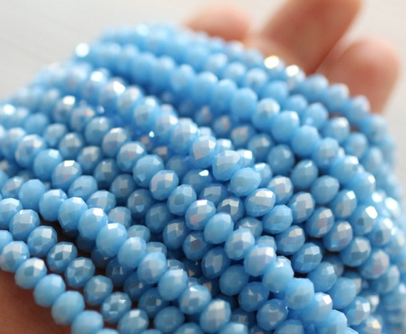 "12"" full strand 6mm blue faceted crystal beads, faceted crystals, crystal beads, rondelle beads, bead strands, glass beads, crystal strand"